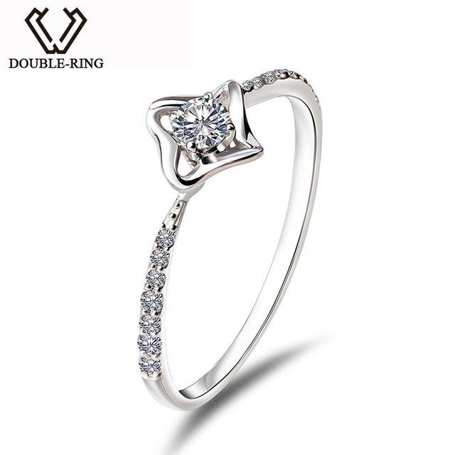 DOUBLE-RING Genuine Fine Jewelry Bijouterie 18K Gold Star Real Diamond Ring Women Ladies Romantic Wedding rings CASR01016KA-1