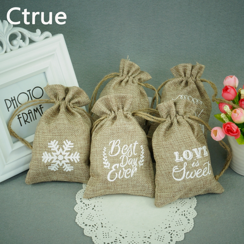 50pcslot Eco Friendly Linen Candy Bag Gift Bags Burlap Jute Wedding