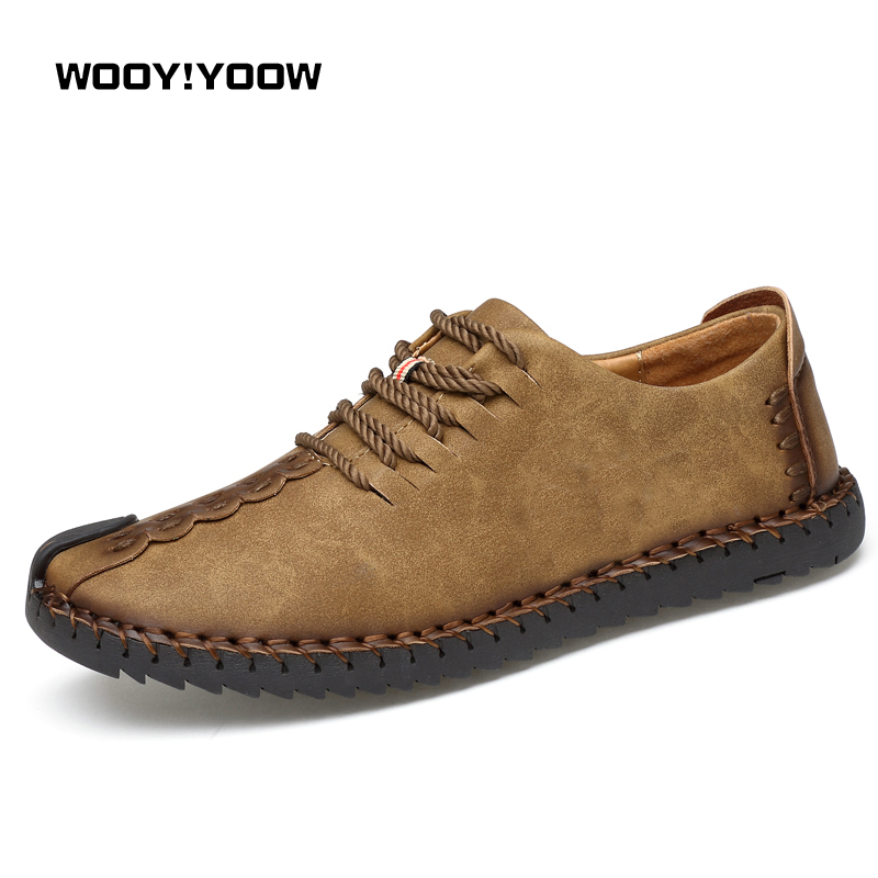 WOOY!WOOY 2018 New Men's Casual Shoes High Quality Split Leather Shoes Comfortable Lace-Up Fashion Loafers Men's Shoes Hot Sale
