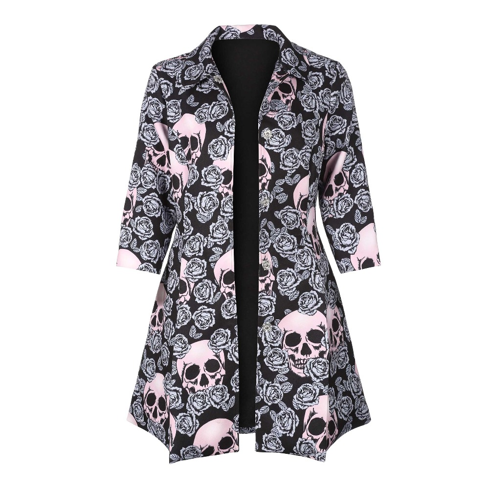 Gothic skull jacket Women Winter Autumn rose pink elegant Jacket Mid-long Outerwear button plus size Gothic Jacket 2018   Coat   HOT