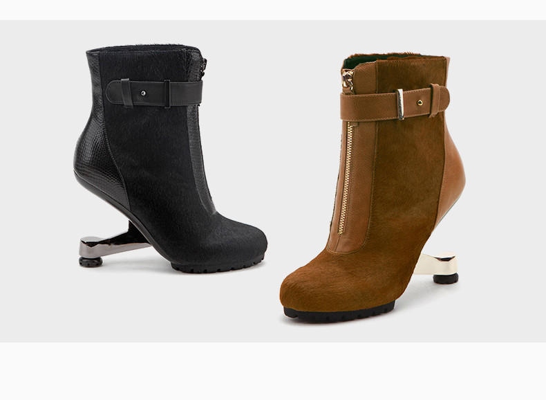 45f8d39d62de0 Brown Real Leather Women Chelsea Boots Ladies Winter Short Booties Buckle  Decor 9cm Strange High Heels Ladies Bota Feminino-in Ankle Boots from Shoes  on ...