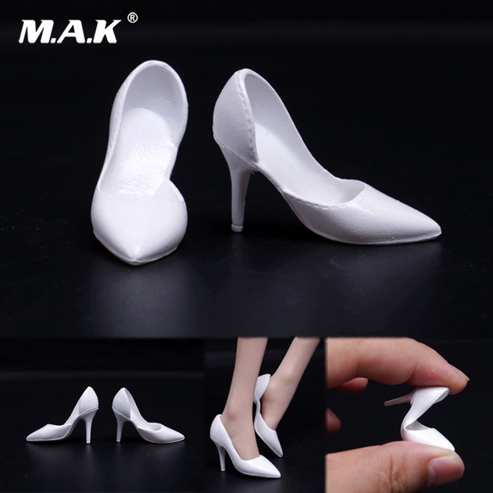 1//6 Woman/'s High Heel Shoes Black /& Silver for 12inch Action Figure Hot Toys