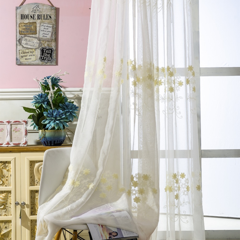 Sheer yellow curtains -  Slow Soul White Embroidery Yellow Flower Curtain Rural Curtain Yarn Plant Curtains For Living