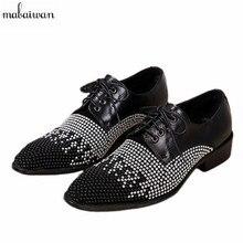 Модные туфли со стразами новые Мужская обувь на шнуровке натуральная кожа вечерние мужские туфли на плоской подошве острый носок мужские оксфорды свадебные модельные туфли