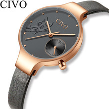 CIVO 2019 Fashion Women Quartz Watch Lady Blue Leather Strap Business Casual Waterproof Wristwatches Gift For Wife Flower Clock(China)