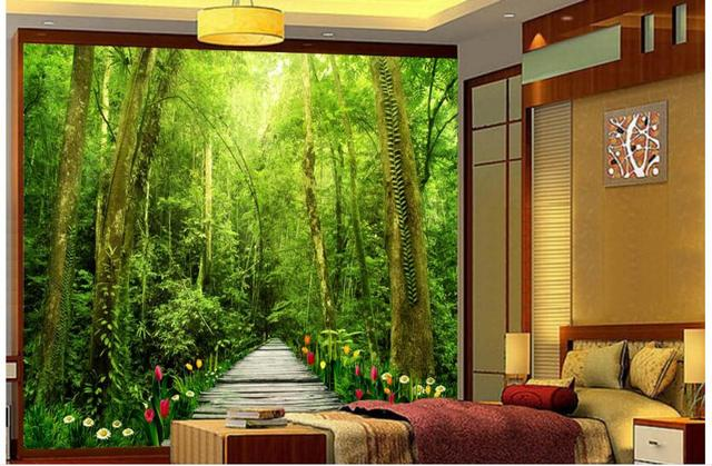 Custom Photo 3d Wallpaper Non Woven Mural Wall Sticker Into Nature Forest  Painting Picture 3d Part 86
