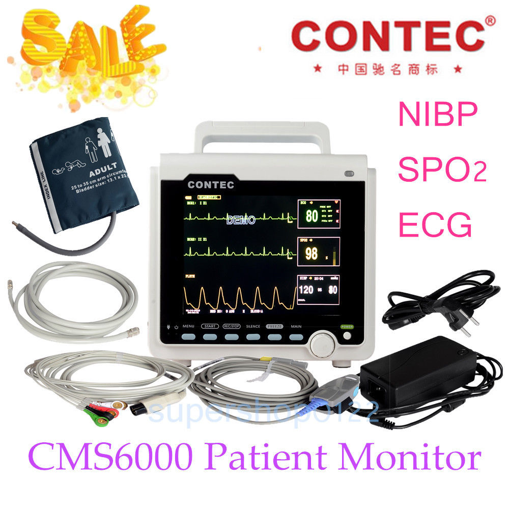 CONTEC ICU/CCU Patient Monitor Multi-parameter,Electronics+NIBP+Pulse Rate+SPO2 Medical Holter Machine Wholesale price CMS6000 btl cardiopoint holter h100