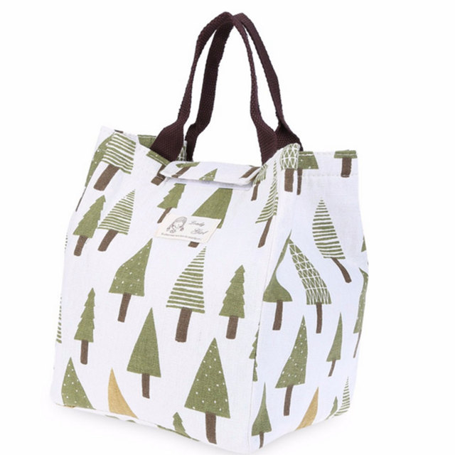 Thermal Food Portable Insulated Lunch Bag Cartoon Print Heat Preservation piknik sepeti Waterproof Canvas Pouch Picnic Bag