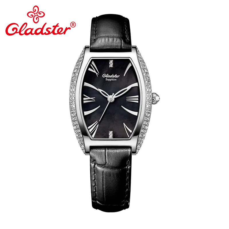 Gladster Charm Brand Japan CITIZEN GL30 Tonneau Women Watch Genuine Leather Female Clock Sapphire Crystal Shell Lady Wristwatch цена 2017