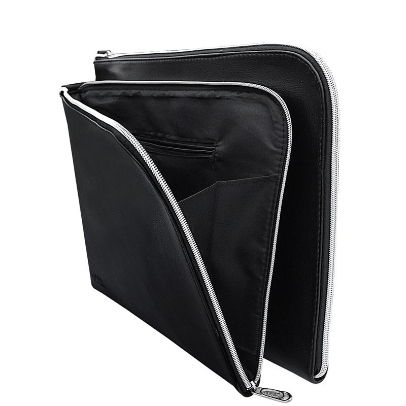 A4 PU Leather Folder A4 Paper Holder Office File Folders Leather-Folder-For-Papers Documents Bag Documentation Organizer Carpeta 1pcs 39cm x 28 5cm 3 pockets zip up nylon faux leather file documents bag holder