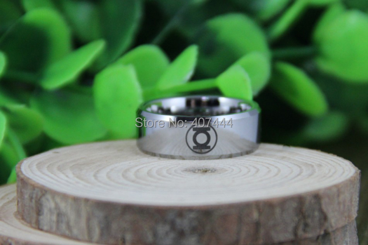 free shipping ygk jewelry hot sales 8mm high polish silver beveled green lantern mens tungsten wedding - Green Lantern Wedding Ring