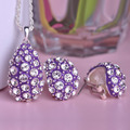 Water Drop Purple Enamel Jewelry Sets Shining Crystal Necklace Earrings Set Wedding Accessories Pendientes Collares Jewellery