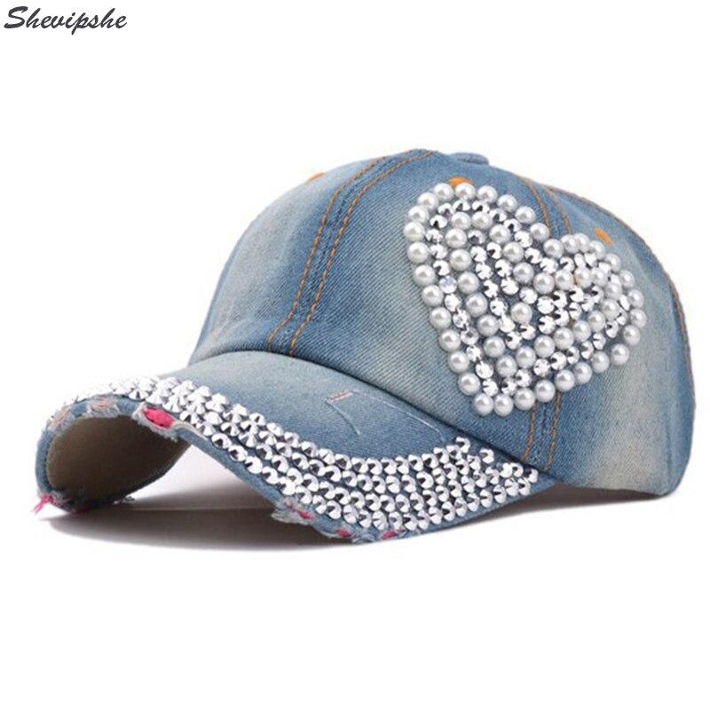 Mujeres Jean Cap gorra de béisbol gorros Ladies rhinestone Diamond SnapBack  dad hat Denim hip hop casquillos femeninos 2017 verano en Gorras de béisbol  de ... e21ec437a9f