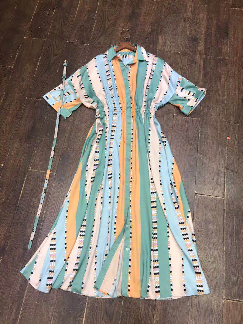 Geometric striped color block print dress 3/4 sleeve elegant belt a-line shirt dresses women fashion new 2018 summer green a line striped shirt dress