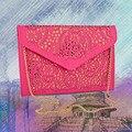 Hot New 2016 Oco cadeias saco envelope 6 cores recorte Bolsas de couro pu doces cor dia embreagem saco do mensageiro das mulheres sacos