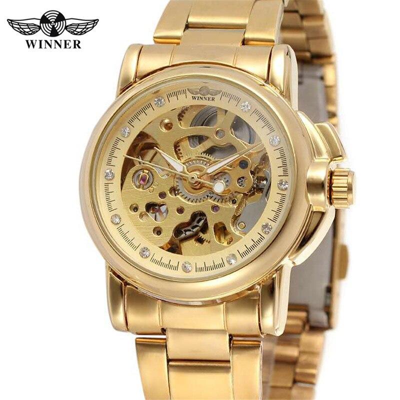 ea0fd60fc6e VENCEDOR Esqueleto Mulheres Relógios Clássico Relógio de Strass Feminino  Top Marca de Luxo Relógios Mecânicos Automáticos