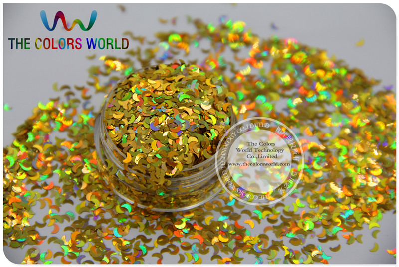 LM-2 Size 3 mm laser holographic Gold  color Glitter paillette Moon shape spangles for Nail Art  and DIY supplies1pack=50g tcf510 solvent resistant neon rose carmine color mickey mouse shape spangles for nail polish and other diy decoration1pack 50g