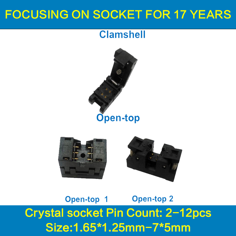 Crystal oscillator socket for 12pin crystal size 7X5mm thickness 1.7mm XO CXP12-000-CP/TP71NT crystal test burn-in socket crystal probe oscillator test socket burn in socket for 7050 4pin crystal size 7 0x5 0mm xo crystal test socket burn in socket