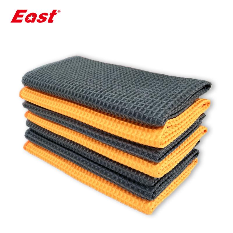 East 5 Pcs 40 X 40CM Microfiber Cleaning Cloth Waffle Weave Glasses Cleaning Cloth Car Wipes