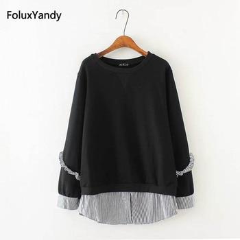 Patchwork Sweatshirts Women Plus Size 3 4 5 XL Casual Round Neck Ruffles Long Sleeve Hoodie Pullovers KKFY154