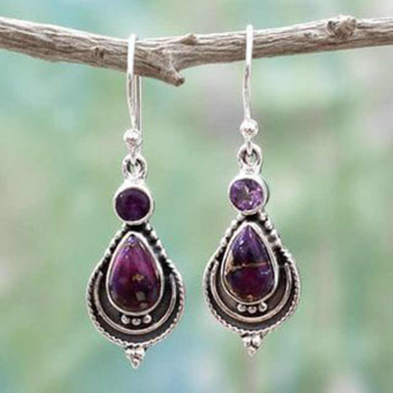 Vintage Ethnic Purple Water Drop Stone Earrings For Women Boho Tribal Long Rhinestone Dangle Earring Oorbellen Gift Z3T126