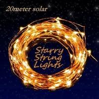 New 200 LEDS 20M Solar Lamps Copper String Fairy Light Christmas Garlands Solar Garden Party Wedding