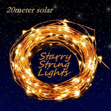 New 200 LEDS 20M Solar Lamps copper string fairy light Christmas Garlands Garden Party Wedding Decor Outdoor Waterproof