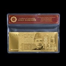 Normalny złoty Pakistan banknot 5000 rupia na złotą folię z ramką COAPVC kolekcja prezentów