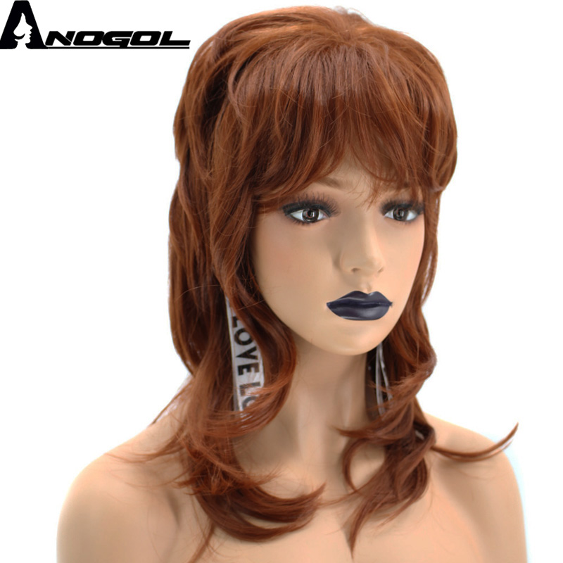Anogol High Temperature Fiber Natural Wave Medium Length Orange Auburn Red Synthetic Wig ...