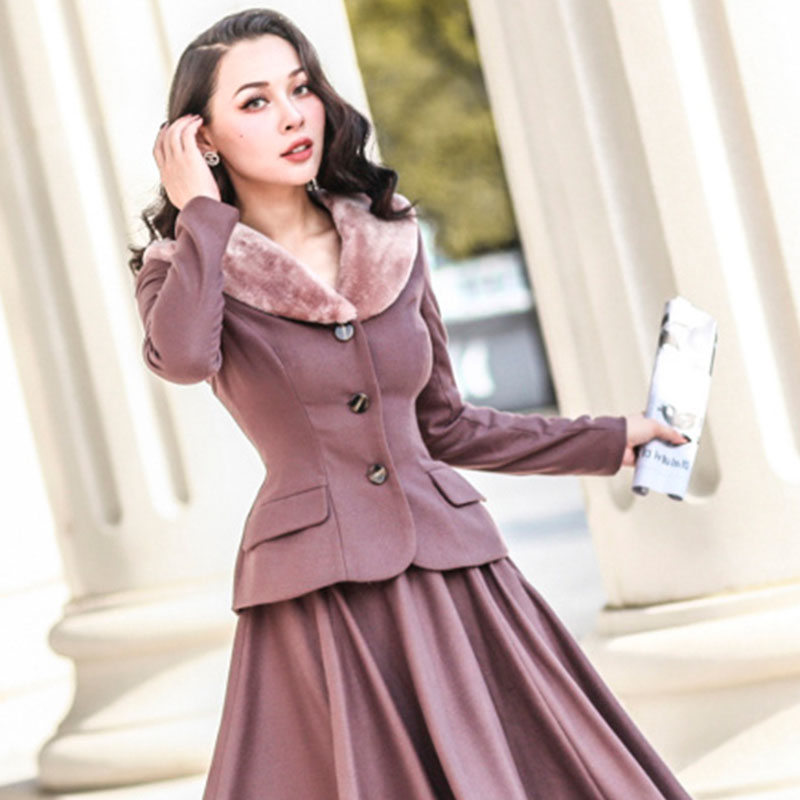 le palais vintage 2018FW 50s Classic Slim Draping Coat and High Rise Ball Gown Skirt Eco-friendy Faux Fur Thicken Fabric