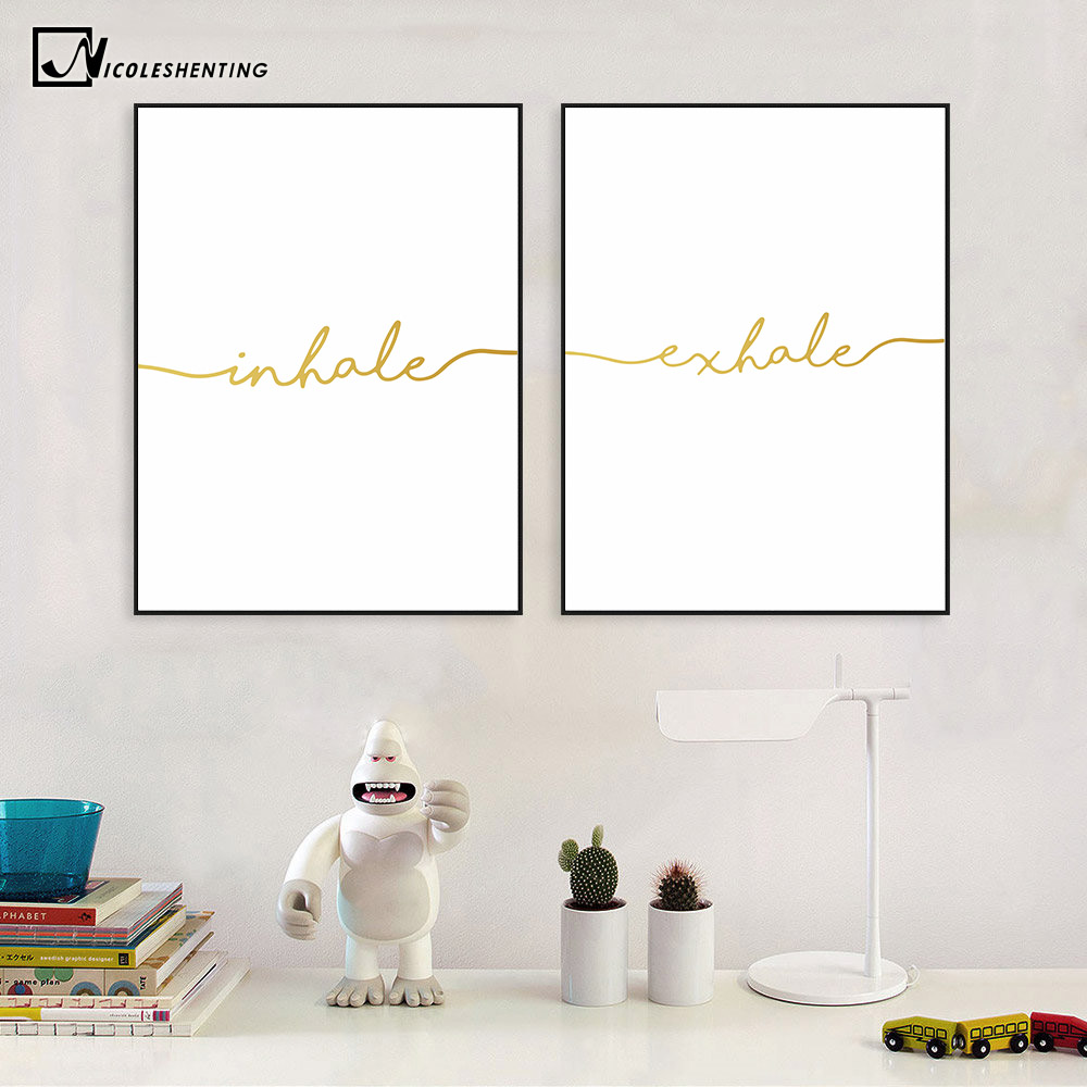 Nicoleshenting inhale exhale quote poster prints for Minimalist wall art
