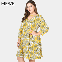 Ladies Summer Vacacion Dresses Of Large Sizes 5xl 6xl 7xl Vintage Yellow Casual Woman Office Dress