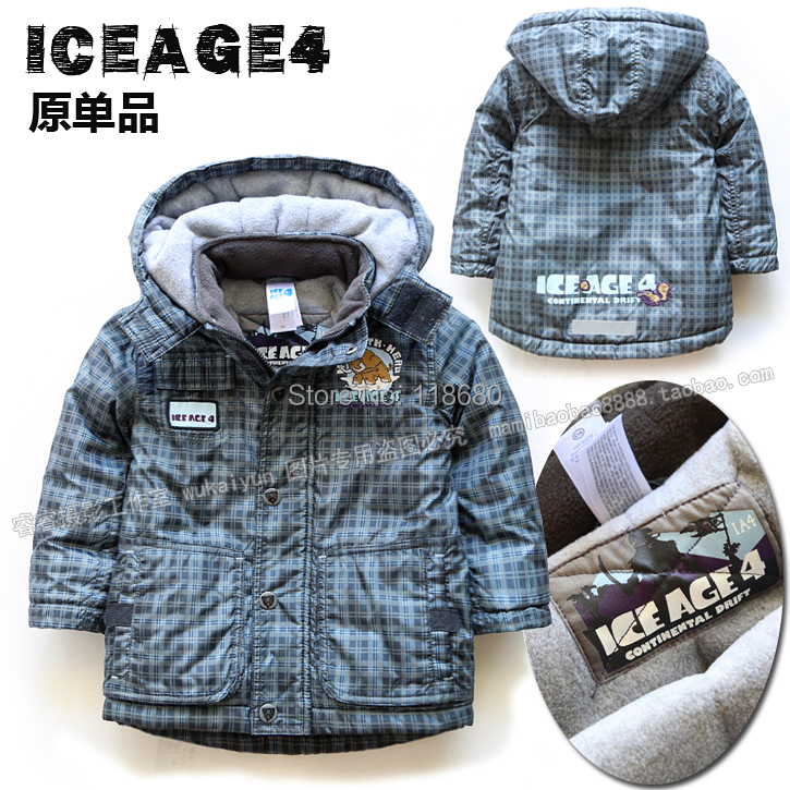 Male child cotton-padded jackets new 2017 autumn winter jacket baby clothing kids outerwear boys warm hooded plaid cotton parka - Lily' house store