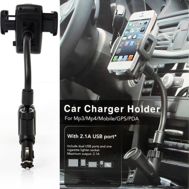 Universal Adjustable Car Phone holder USB Car Charger Stand With Cigarette Lighter Adapter Car-styling For iPhone Xiaomi Samsung