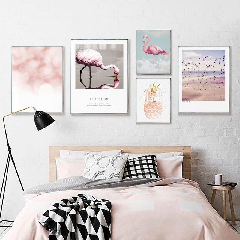 Современные Книги по искусству животных холст Фламинго элементы Плакаты принт Металл живопись Рамки стены Креативные фотографии скандина