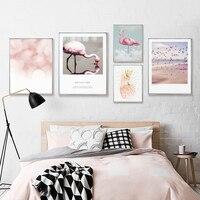 Arte moderna Tela Animale Flamingo Elementi Poster In Metallo Stampa Foto della Parete Cornice Creativo Arredamento Nordico Dipinto Con Cornice