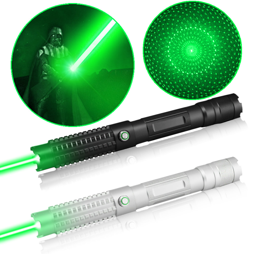 Most Powerful 10 Miles 520nm Portable Focusable Green Laser Pointer With Lock And Luxury Case (Black / Silver)