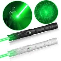 Самый мощный 10 милях 520nm Портативный фокус зеленый лазерная указка с замком и роскошный чехол (черный/серебристый)
