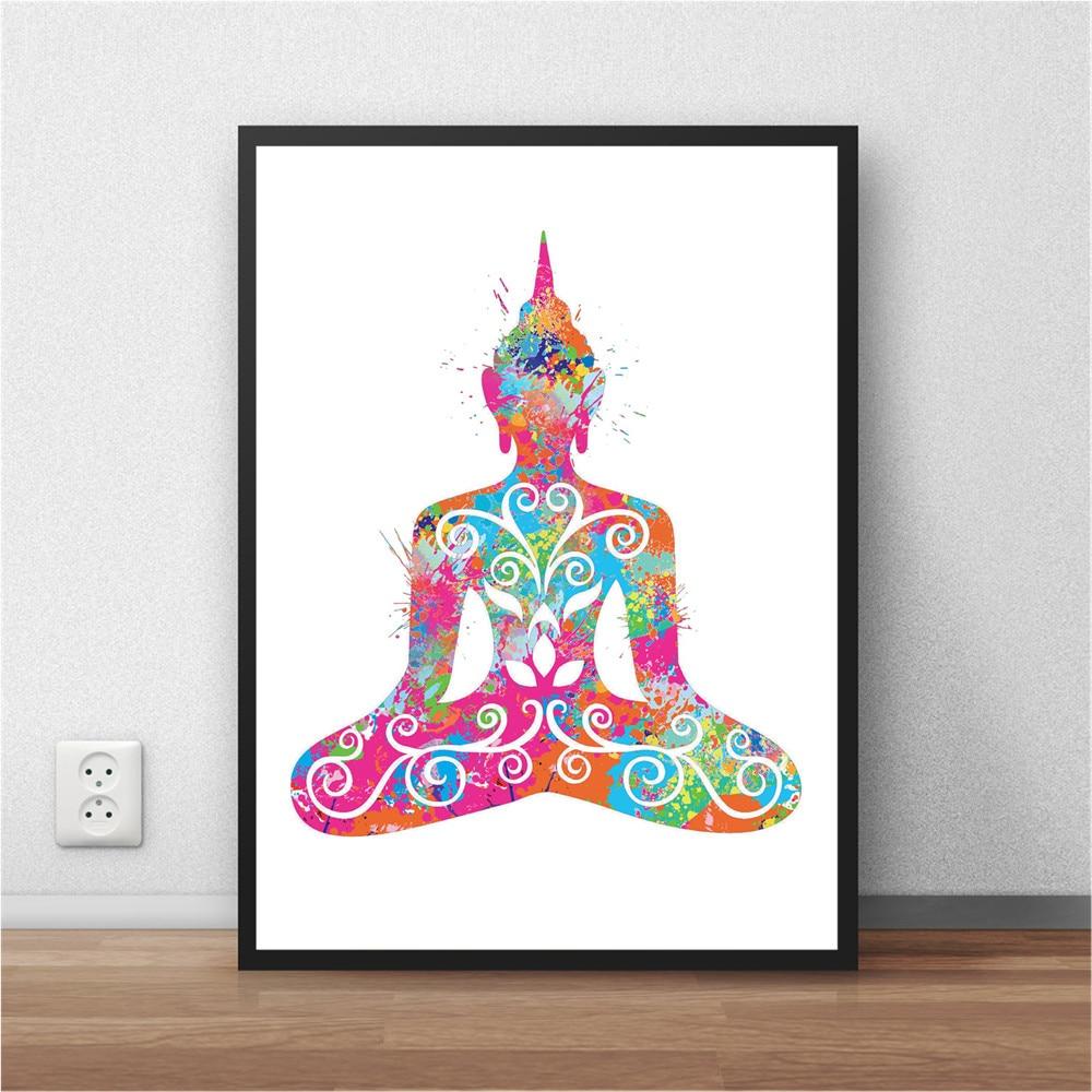 Yoga Buddha Abstrakte Aquarell Poster Malerei Wand Wohnzimmer Zimmer Kunstdruckpapier Aufkleber Schlafzimmer Drucken Bild 42x30