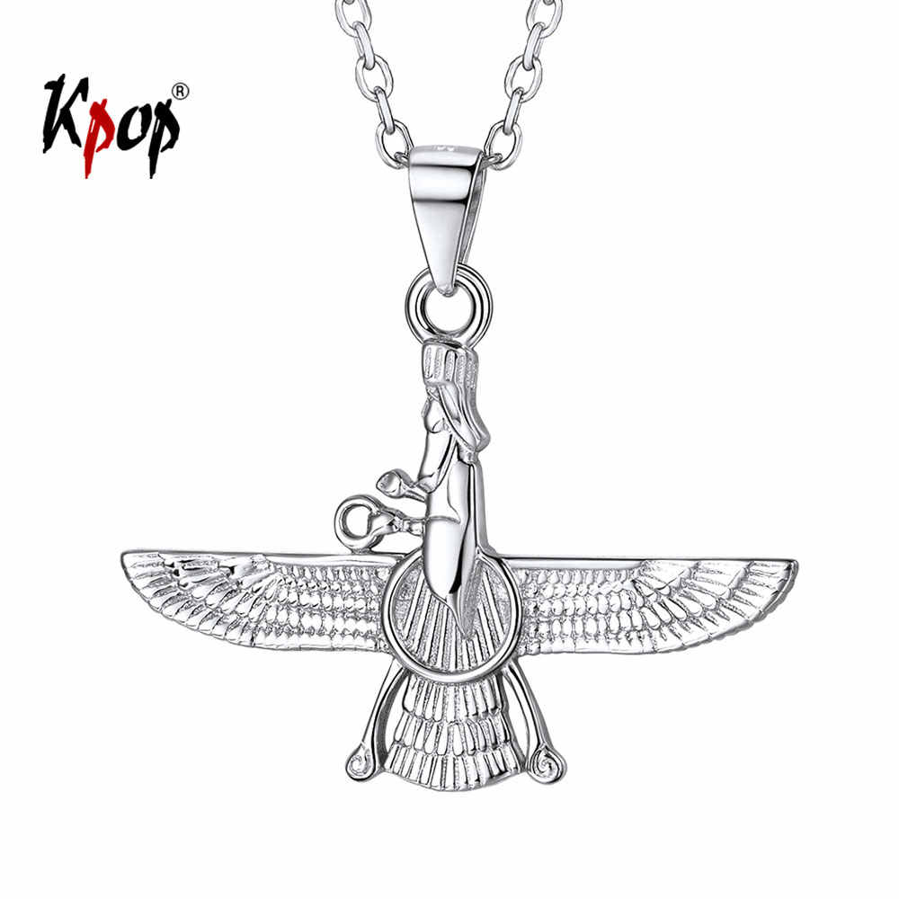 Kpop 925 Sterling Silver Necklace Iranian Jewelry Vintage Faravahar Ahura Mazda Necklace for Women P6328