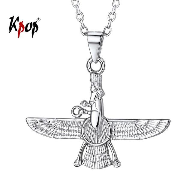 Kpop 925 Colar de Prata Esterlina Jóias Iraniano P6328 Faravahar Ahura Mazda Colar para Mulheres Do Vintage