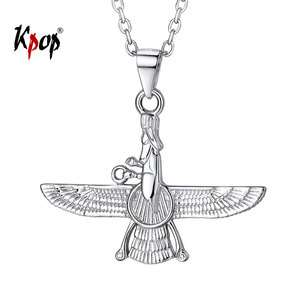 Image 1 - Kpop 925 Sterling Silver Necklace Iranian Jewelry Vintage Faravahar Ahura Mazda Necklace for Women P6328