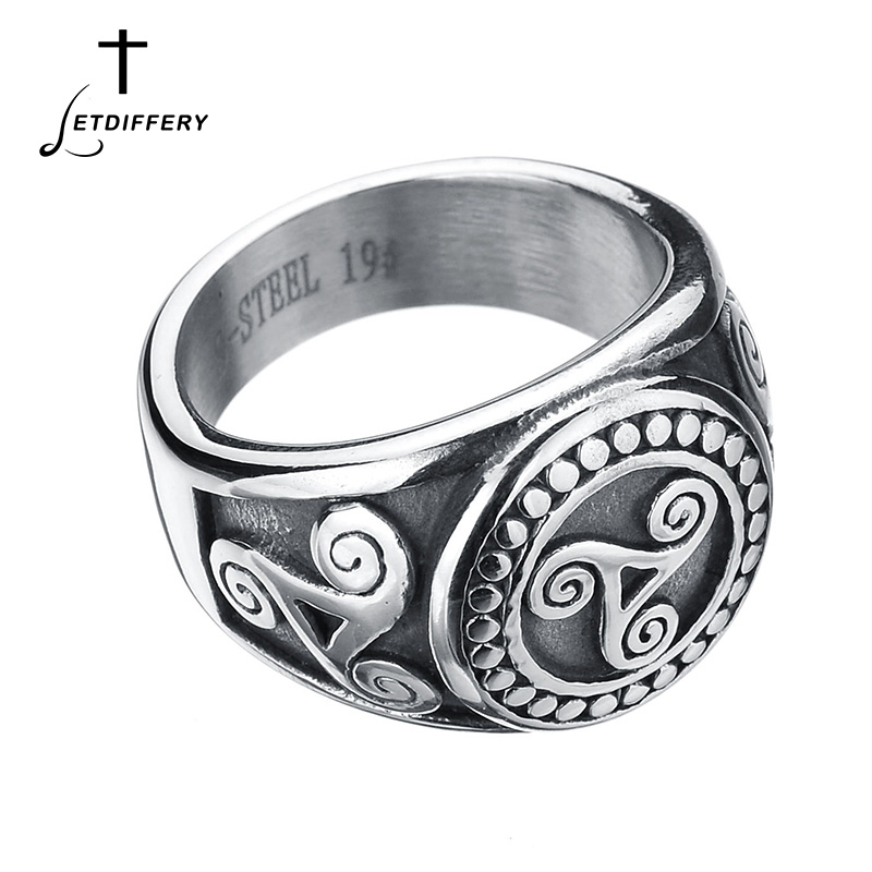 Letdiffery Teen Wolf Signet Pagan Rings Stainless Steel Movie Rings Finger Signet Ring For Boyfriend Gift image