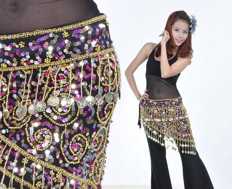 2 Color Bellydance Belt Belly Dance Hip Scarf Women Polyester Sale Tribal Hip Scarf