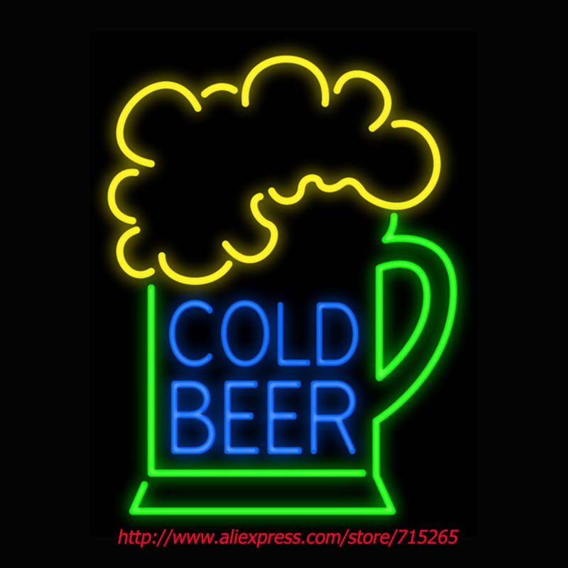 Cold Beer Neon Sign Board Neon Bulbs Light Guarage Display Real GlassTube Custom Handcrafted Business Light Decorate Store 19x15