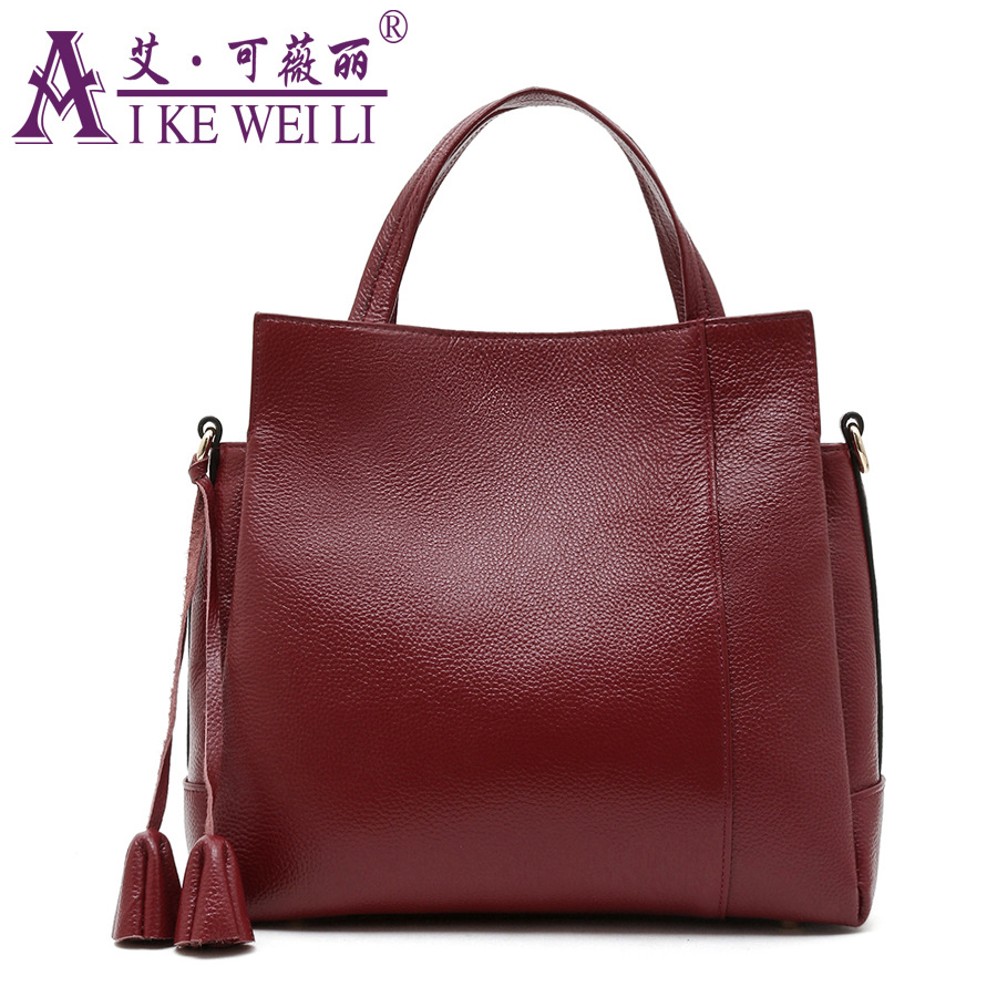 Genuine Leather Handbag Fashion Litchi First Layer Of Cowhide Cross-Body Bag Shoulder Bag high end of the first layer of litchi grain leather bucket bag basket classic bag handbag small women