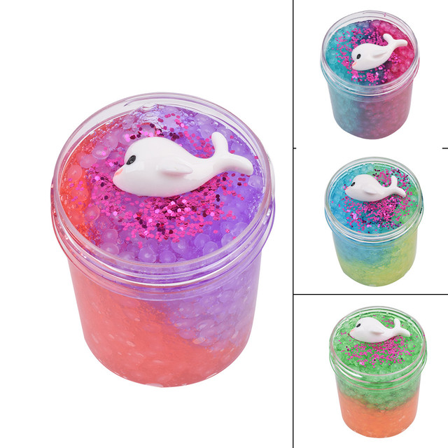 120ml Slime Fluffy Dolphin Mud Mixing Rice Grain Slime Charms Putty Scented Soft Clay Slime Supplies Anti Stress Plasticine Toy