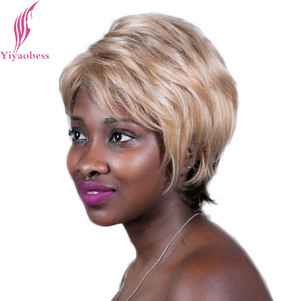 Yiyaobess 10inch Blonde Brown Ombre Wig For Women Heat Resistant Synthetic Puffy Highlights Short Wigs For African Americans