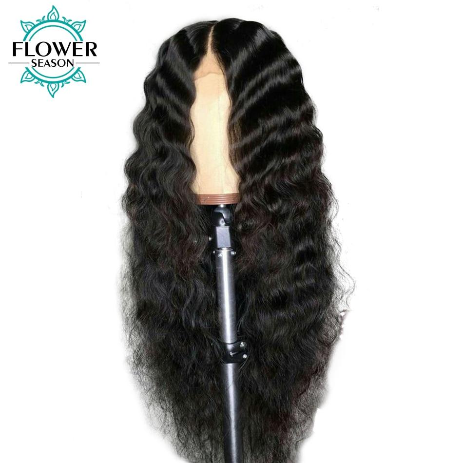 FlowerSeason Preplucked 13x6 Deep Wave Lace Front Mänskliga - Mänskligt hår (svart)