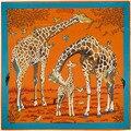 Новое Поступление Летом Стиль Животных Жираф Pattern Платок Марка Шелковый Шарф Мусульманский Хиджаб Сумки Аксессуары SH15102128